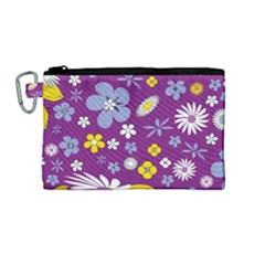 Floral Flowers Canvas Cosmetic Bag (medium)
