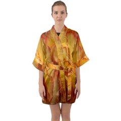 Flowers Leaves Leaf Floral Summer Quarter Sleeve Kimono Robe