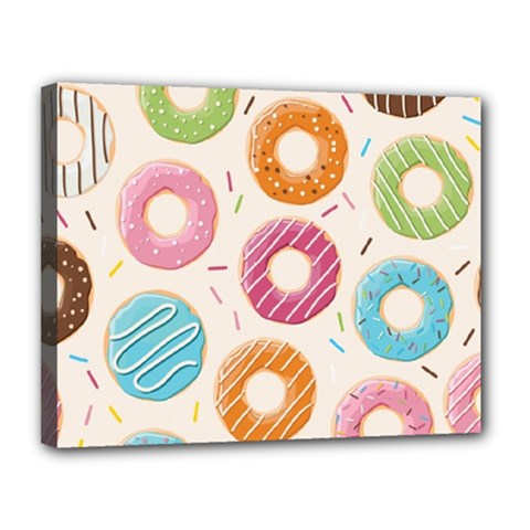 Colored Doughnuts Pattern Canvas 14  X 11
