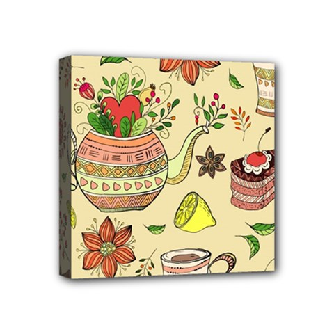 Colored Afternoon Tea Pattern Mini Canvas 4  X 4