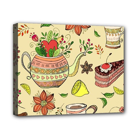 Colored Afternoon Tea Pattern Canvas 10  X 8