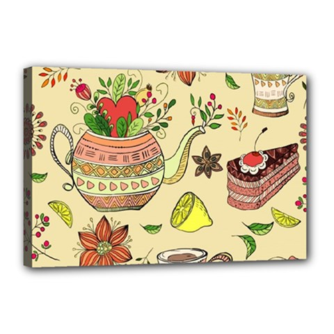 Colored Afternoon Tea Pattern Canvas 18  X 12