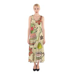 Colored Afternoon Tea Pattern Sleeveless Maxi Dress