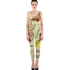 Colored Afternoon Tea Pattern Onepiece Catsuit
