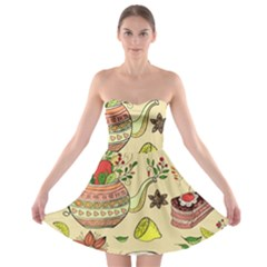 Colored Afternoon Tea Pattern Strapless Bra Top Dress