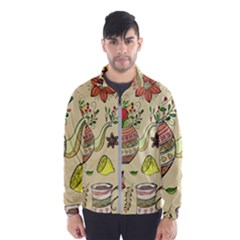Colored Afternoon Tea Pattern Wind Breaker (men)