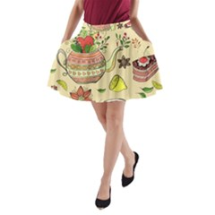 Colored Afternoon Tea Pattern A Line Pocket Skirt