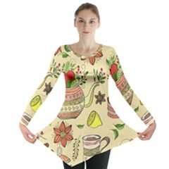 Colored Afternoon Tea Pattern Long Sleeve Tunic