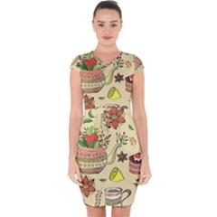 Colored Afternoon Tea Pattern Capsleeve Drawstring Dress