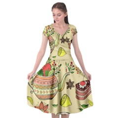 Colored Afternoon Tea Pattern Cap Sleeve Wrap Front Dress