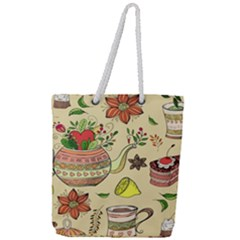 Colored Afternoon Tea Pattern Full Print Rope Handle Tote (large)
