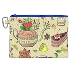 Colored Afternoon Tea Pattern Canvas Cosmetic Bag (xl)