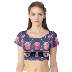 Afternoon Tea And Sweets Short Sleeve Crop Top