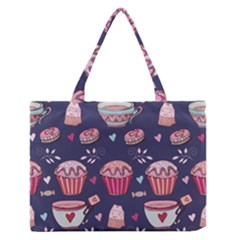 Afternoon Tea And Sweets Zipper Medium Tote Bag