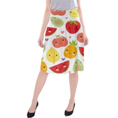 Happy Fruits Pattern Midi Beach Skirt