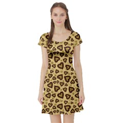 Leopard Heart 01 Short Sleeve Skater Dress