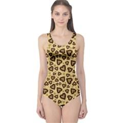 Leopard Heart 01 One Piece Swimsuit