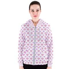 Pixel Hearts Women s Zipper Hoodie