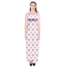 Pixel Hearts Short Sleeve Maxi Dress