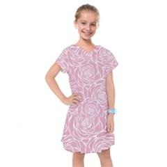 Pink Peonies Kids  Drop Waist Dress