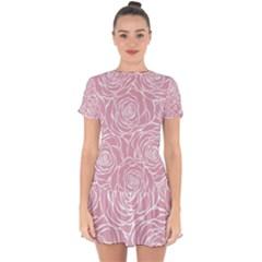 Pink Peonies Drop Hem Mini Chiffon Dress