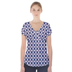 Kaleidoscope Tiles Short Sleeve Front Detail Top