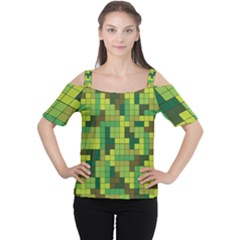 Tetris Camouflage Forest Cutout Shoulder Tee