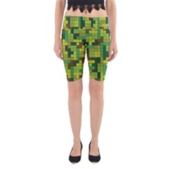 Tetris Camouflage Forest Yoga Cropped Leggings