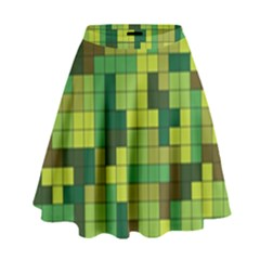 Tetris Camouflage Forest High Waist Skirt