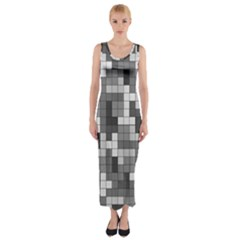 Tetris Camouflage Urban Fitted Maxi Dress