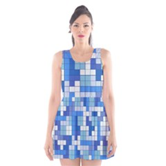Tetris Camouflage Marine Scoop Neck Skater Dress