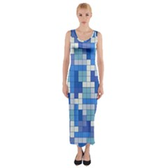 Tetris Camouflage Marine Fitted Maxi Dress