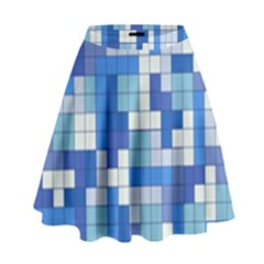 Tetris Camouflage Marine High Waist Skirt