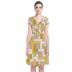 Tetris Camouflage Desert Short Sleeve Front Wrap Dress