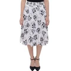 A Lot Of Skulls White Folding Skater Skirt