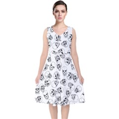 A Lot Of Skulls White V Neck Midi Sleeveless Dress