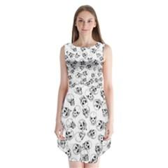 A Lot Of Skulls White Sleeveless Chiffon Dress