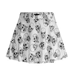 A Lot Of Skulls White Mini Flare Skirt