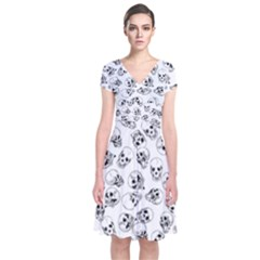 A Lot Of Skulls White Short Sleeve Front Wrap Dress