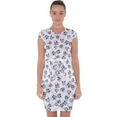 A Lot Of Skulls White Capsleeve Drawstring Dress