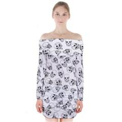 A Lot Of Skulls White Long Sleeve Off Shoulder Dress