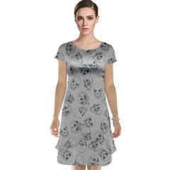 A Lot Of Skulls Grey Cap Sleeve Nightdress