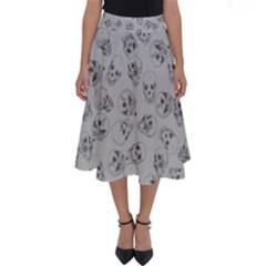 A Lot Of Skulls Grey Perfect Length Midi Skirt