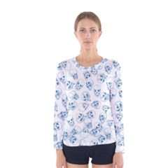 A Lot Of Skulls Blue Women s Long Sleeve Tee