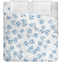 A Lot Of Skulls Blue Duvet Cover Double Side (king Size)