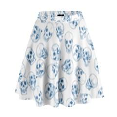 A Lot Of Skulls Blue High Waist Skirt