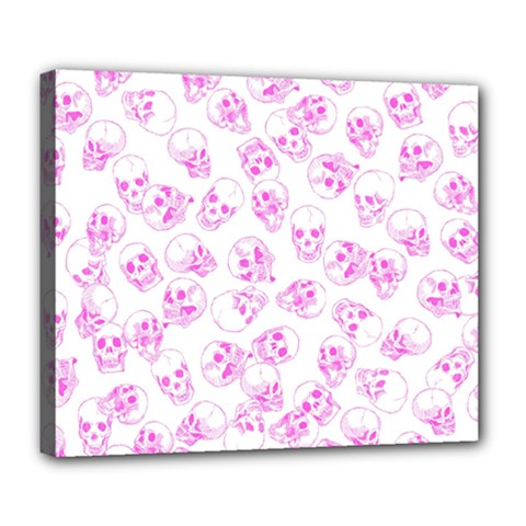A Lot Of Skulls Pink Deluxe Canvas 24  X 20