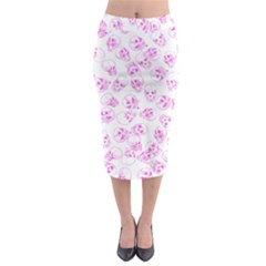 A Lot Of Skulls Pink Midi Pencil Skirt