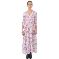 A Lot Of Skulls Pink Button Up Boho Maxi Dress