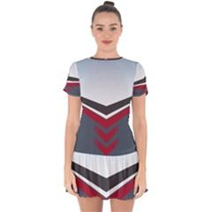 Modern Shapes Drop Hem Mini Chiffon Dress